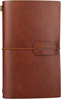 Vintage PU Leather Travel Notebook Refillable Journals Lined Paper Diary Planner Writing Notepad Pocket Note Book for Men & Women, 4.72 x 7.87 inches, 80 Sheets/160 Pages(Brown)…