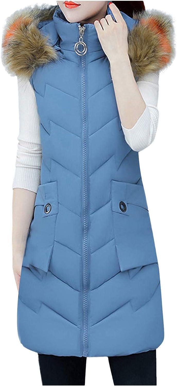 VEKDONE Women Slim Sleeveless Winter Thicken Jackets Warm Faux Fur Hooded Zip-Up Winter Puffer Vest Coat