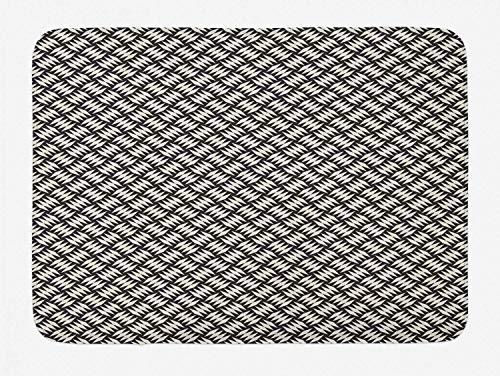 AoLismini Gitter-Badezimmermatte, diagonal ausgerichtete benachbarte Rautenformen, Moderne einfarbige Fliesen, weiche Badezimmermatte mit Rutschfester Rückseite, anthrazitgrau und Lederschale.