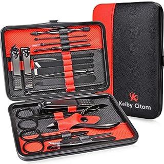 scheda tagliaunghie set professionale - grooming kit strumenti per manicure e pedicure 18pcs con box (nero rosso)
