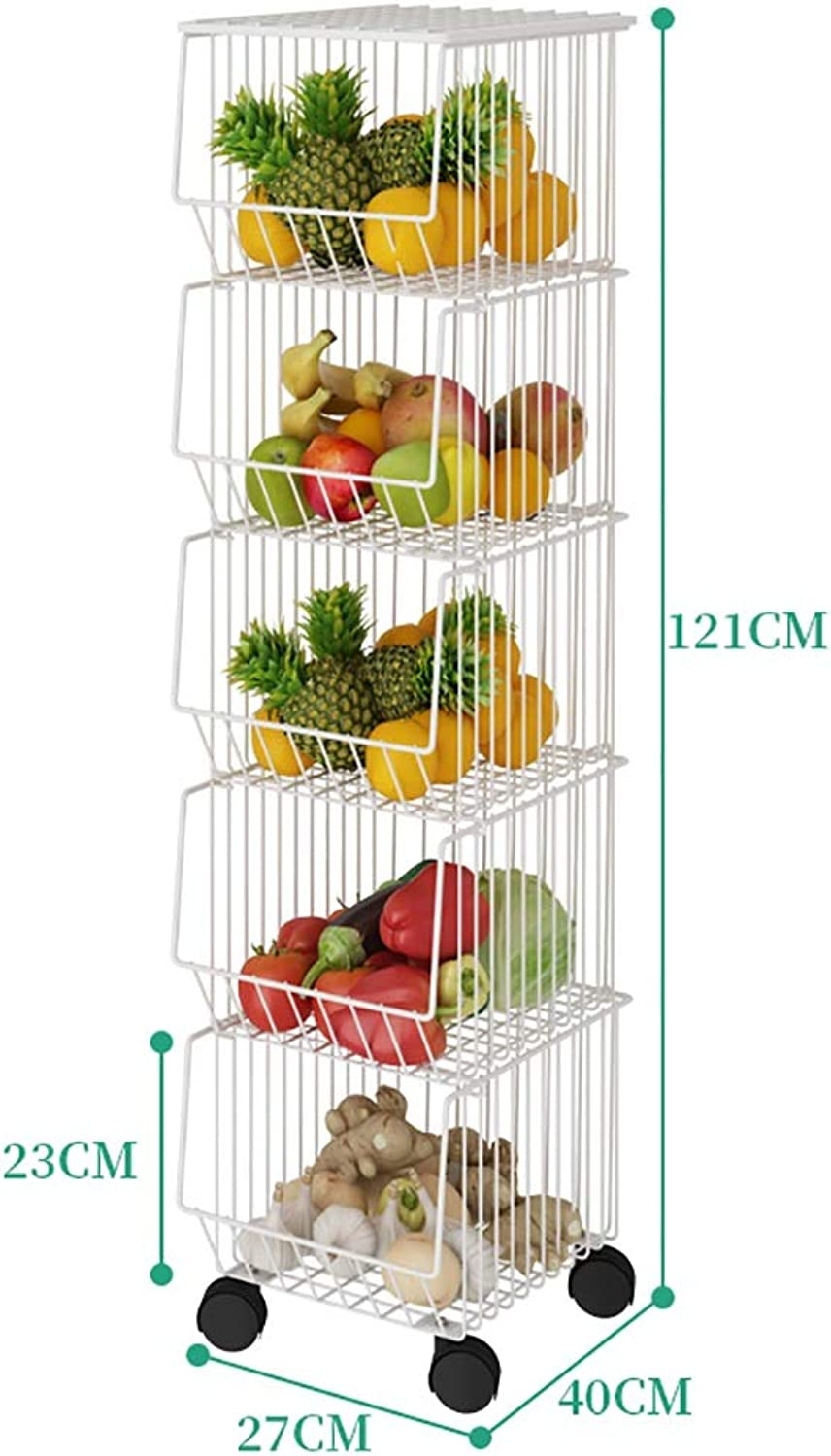 Kitchen Storage Rack, Metal Pulley Easy to Move Kitchen Bathroom and Balcony (Size   D)