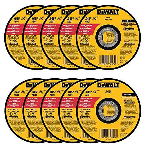 """DEWALT DW8062 4-1/2""""x.045""""x7/8"""" Metal Angle Grinder Thin Cutoff Wheel, 10 Pack, (Model: DW8062-10,PK)"""