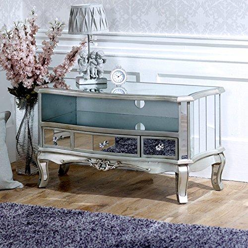 Melody Maison Vintage Silver Mirrored TV Cabinet - Tiffany Range