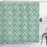 N \ A Cortina de ducha de damasco, ilustración de damasco con patrón de flores abstractas, antigüedad, tela de tela para baño con ganchos, 183 x 183 cm, color burdeos