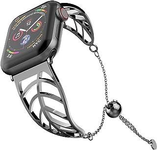 UooMoo Women Bracelet Compatible Apple Watch Band 38mm/40mm/42mm/44mm, Ladies Girls Stainless Steel Metal Strap Jewelry Wr...
