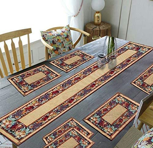 """Banchmark Home Furnishings Jacquard Cotton Dining Table Mats with Runner (1 Runner and 6 Mats) Mats- 12.5"""" x 19"""" & Ta..."""