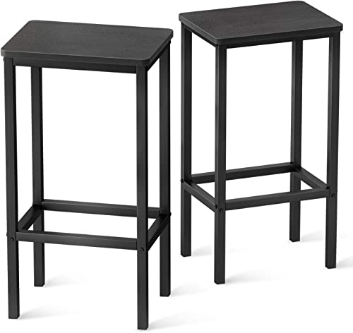 discount 25.6'' Counter Height Bar Stools, Scratch Resistant Wooden Top & high quality Sturdy Metal Legs, Set lowest of 2, Industrial Black sale