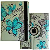 Case for iPad 2nd 3rd 4th Generation, Fit Model A1395 A1396 A1397 A1416 A1430 A1403 A1458 A1459 A1460 – Lingsor Smart Cover Case Rotating Stand Support Wake up Sleep, Blue Flower