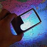 Lupa de bolsillo para tarjeta de crédito, portátil, ultra fina, 3 x 6 x LED, cuadrada, para asistencia de lectura