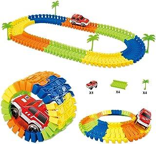yeesport Kids Track Toy Set Interactive DIY Electric Car Toy Flexible Race Track Playset Race Tracks for Boys Car Toys Rac...