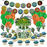 26Pcs Teenage Mutant Ninja Turtles Birthday Party Kids Video Game Theme Decorations, Birthday Banner, Balloons, Cake Topper, Cupcake Toppers, Suitable for Children and Fans