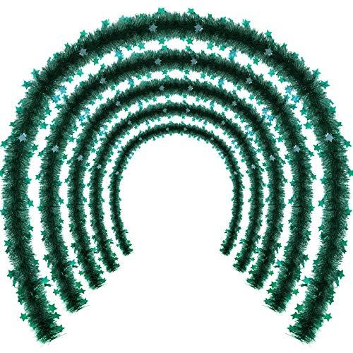 WILLBOND 5 Peizas Guirnaldas de Oropel de Navidad espumillon Guirnalda de Brillante de Árbol de Navidad con Estrellas para Decoraciones de Árbol de Navidad Cumpleaños Boda (Verde Negruzco)