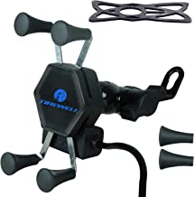 Tirewell TRWL1PH Universal Mobile Mount Cell Phone Holder 360 Rotation Bike Mobile Charger for Motorcycles & Bikes (Black)