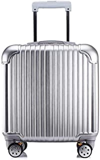 HPXCAZ Luggage Trolley Trolley Case Caster 18 Inch Travel Hard Case Female Suitcase Luggage Mini Suitcase Black Gold Rose Gold and Silver Pink (Anti-Scratch) (Color : Silver, Size : 18 inches)
