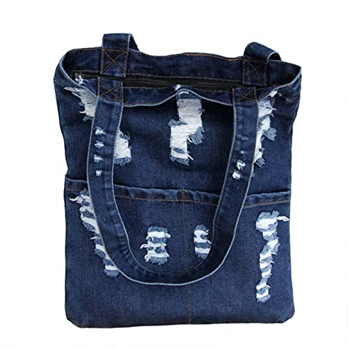 Manka Vesa Women Canvas Bag Denim Tote Shoulder Shopping Bag Handbag Pockets 742aeeacf8a93