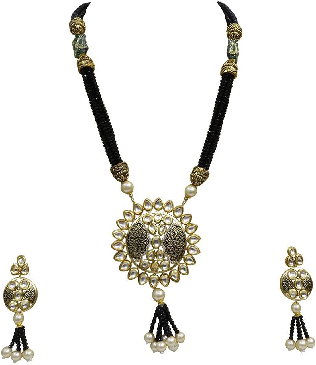 Babosa Sakhi Blue Crystal Pendant Set Meenakari Kundan Polki Long Necklace Imitation Jewelry
