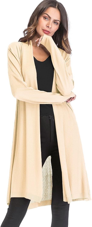 Hotiary Women's Long Cardigans Knitted Sweater Open Long Sleeve Lightweight Thin Black Red Beige Khaki