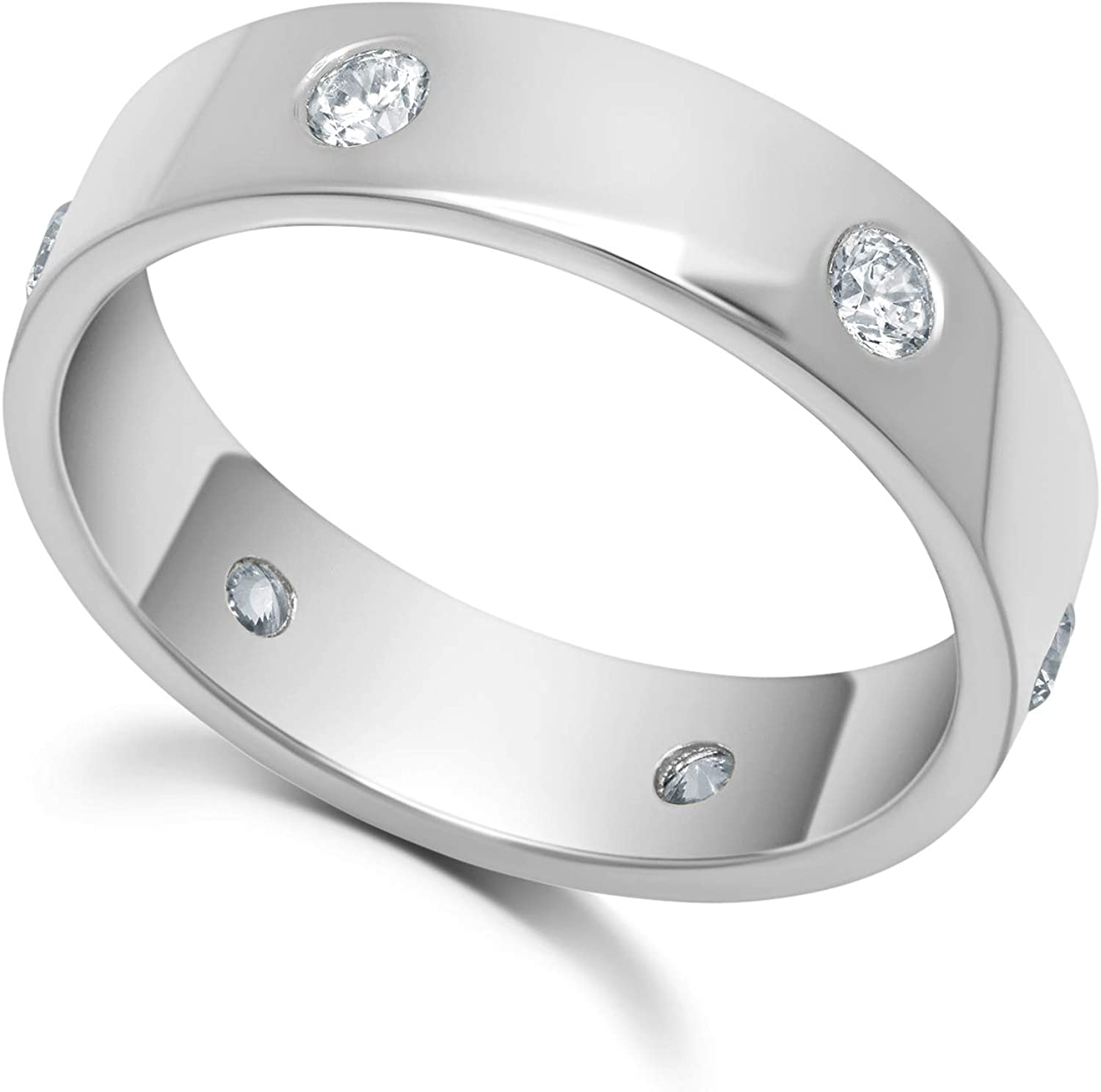 5mm Band with Eternity In-Lay CZ in Sterling Silver or Yellow Gold Overlay