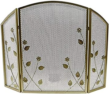 Protección contra chispas Pantalla protectora contra chispas Diseño de hojas Pantalla para chimenea de malla metálica, Protector contra chispas de hierro forjado de 3 paneles dorados, Puerta plegable