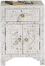 Heathertique Handmade Bone Inlay Furniture - Side Table Floral Pattern Cabinet (White)