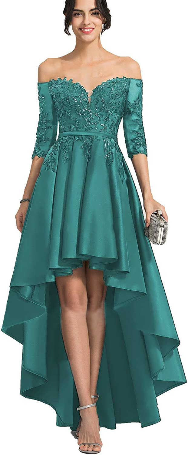 High Low Off Shoulder Lace Satin Prom Dress 2019 with Half Sleeves Long Evening Cocktail Party Gowns for Women