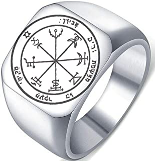 Detailed Engraved Seventh Pentacle of Jupiter for Wealth Mens Womens Stainless Steel Polished Talisman Ring