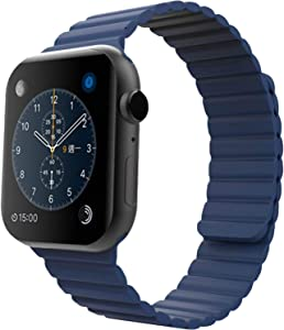 MIAODAM Sport Bands Compatible for Apple Watch Series 44mm 42mm 40mm 38mm, Adjustable Silicone Loop Strap with Magnetic Closure for iWatch Series 6/5/4/3/2/1/SE (Blue, 42 mm / 44 mm Regular)