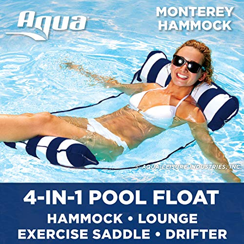 Aqua Monterey 4-in-1 Multi-Purpose Inflatable Hammock (Saddle, Lounge Chair, Hammock, Drifter) Portable Pool Float, Navy