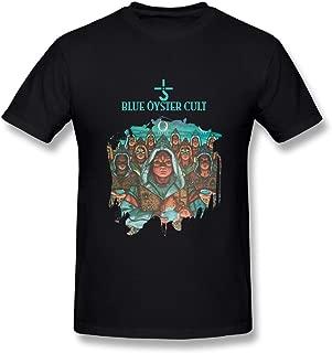UrsulaA Mens Cotton Blue Oyster Cult Fire of Unknown Origin Tshirt Black