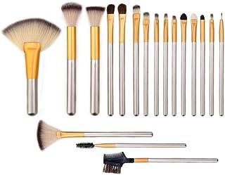 KAIZM 18pcs Makeup Brush Set,Premium Cosmetic Brushes for Foundation Blending Blush Concealer Eye Shadow, PU Leather Roll ...