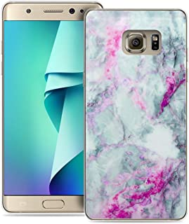 Case for Note 5 Marble/IWONE Designer TPU Rubber Durable Compatible Cover Shockproof Replacement for Samsung Galaxy Note 5 + Beautiful Lovely Granite Purple Blue