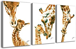 Hongwu Wall Art Giraffe Painting Modern Canvas Prints Animal Pictures on Canvas Stretched Ready to Hang for Wall Decor 16x24inch
