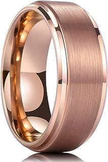 6mm Rose Gold Rings for Women Men Wedding Bands Sets Ring Tungsten Carbide Beveled Edge Brushed Polished Comfort Fit Size 6-9