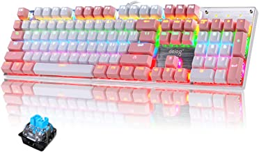 FELiCON RGB LED Backlit Wired Mechanical Gaming Keyboard,Metal Panle Dustproof Suspended Keycap Keyboard,for Laptop PC Gam...