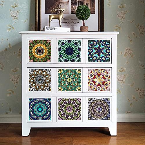Azulejos Adhesivos Mandala Morado VerdeVinilosCocinaAzulejosAntisalpicadurasVinilosBañoAzulejosImpermeableVinilosdeparedDecorativosPinturaparaAzulejosAdhesivodePared 15x15cm
