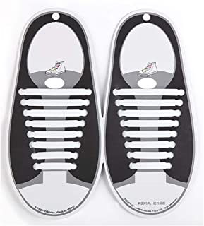 Fashion Silicone Tieless Shoelace, Elastic Flat No-Tie Perfect for Adult, Kids, Unisex Sneakers Runners Shoes & Boots - Waterproof & Super Easy To Clean Shoelaces Easy Pull & Lock