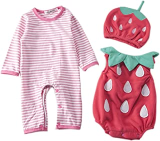 Toddler Baby Halloween Cute Strawberry Print Fancy Costume Jumpsuit Outfits 3PCS
