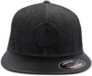 COOLTRAP Men's Denim and Leather Flat Baseball Cap, Black