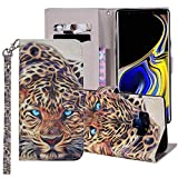 Wallet Phone Case for Samsung Galaxy S6 with Tempered Glass Screen Protector Cover and Card Holder Slot Stand Protective Glaxay S 6 Gaxaly 6s Galaxies GS6 SM-G920V G920A 3D Leopard Leather Cases