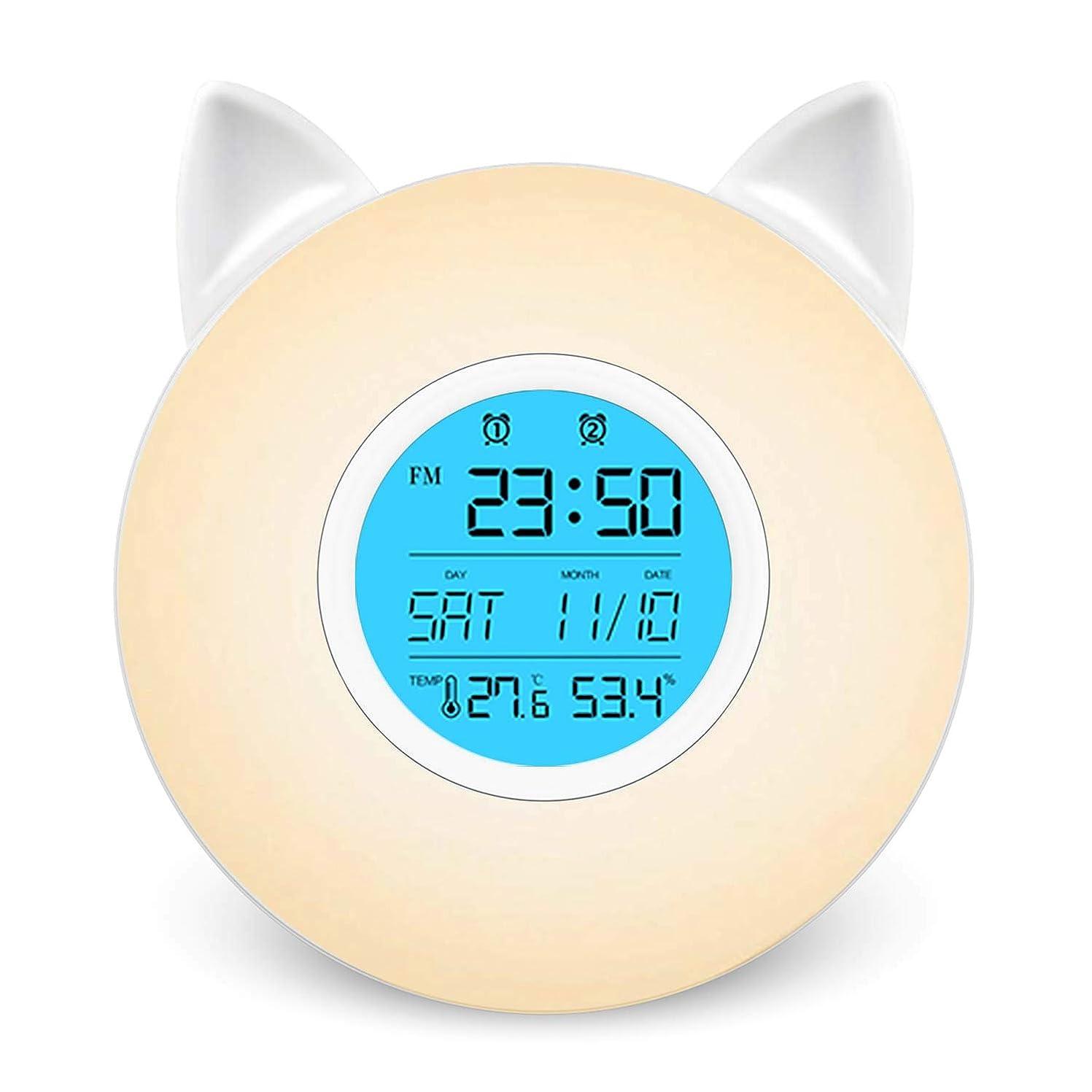 与える不足シェーバー目覚まし時計 光 LEDライト Helius 目覚ましライト ベッドサイドランプ 小型 LEDデスクライト Wake Up Light 置き時計 デジタル時計 温度湿度計 ベッドライト テーブルランプ 常夜灯 ベッドサイドクロック卓上 スタンドライト デスクスタンド ランプシェード ナイトライト デジタル めざまし時計 大音量 ウェイクアップライト アラーム スヌーズ機能 間接照明おしゃれ電気スタンド 照明スタンド 3段階調光 七色切り替え 室内寝室 夜間ライト読書灯 屋外携帯 停電対策 おしゃれ 電波 FMラジオ搭載 USB/電池給電