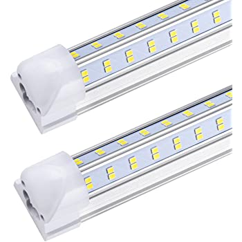 8ft LED Shop Light Fixture, T8, 8 Foot 92W 13000lm 6000K, Clear Cover, V Shape, Cold White, Tube Light, Hight Output, Bulbs for Garage, Warehouse, Plug and Play, (Pack of 10)