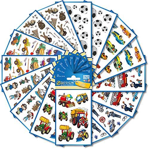 Avery Zweckform 524 Stickers voor kinderen (stickers jongens, kinderstickers, voetbal, tractor, piraten, auto's, politie, brandweer, bouwplaats, kinderverjaardag, cadeau, gastgeschenken)