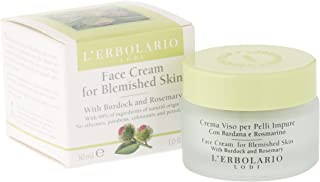 L'Erbolario Face Cream for Blemished Skin with Burdock and Rosemary, Perfect for Sensitive Skin