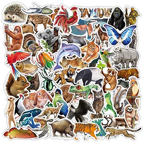 80 Pegatinas de Animales de la Selva Tropical Lindo Conejo Tigre Perezoso para portátil Coche Maleta monopatín Botella de Agua calcomanía Chico Juguete