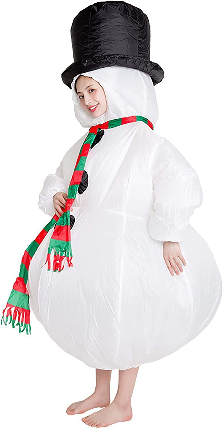 The Chubby Snowman Inflatable Costume, Adult Funny Blow up Suit for Halloween Cosplay Prank White