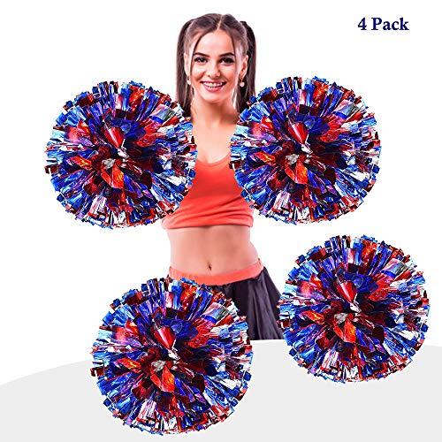 AUHOTA 4 Stück Metallfolie Cheerleading Pom Poms, Cheerleader Pompons Handblumen zum Sport Cheers Ball Dance Kostüm Nacht Party Team Spirit (6 Zoll) (Blau/Rot/Silber)