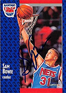 Sam Bowie autographed basketball card (New Jersey Nets 67) 1991 Fleer #129 - Unsigned Basketball Cards