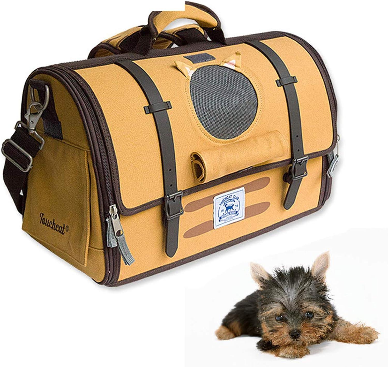 SHINING KIDS SoftSided Pet Carrier Backpack Retro Cat Dog Transport Bag