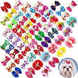 100pcs/50pairs Dog Bows Rhinestone Pearls Pet Hair Bows with Rubber Bands Puppy Bowknot Topknot Pet Grooming Bows Varies Colors Dog Hair Accessories