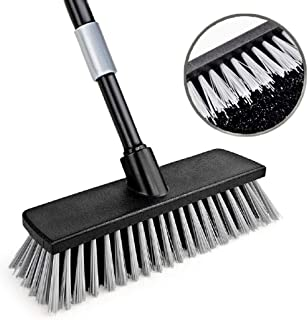 Push Broom Floor Brush Indoor Outdoor Scrubber, Stiff Bristle, 49.6 Inches Telescoping Poles for Cleaning Bathroom Kitchen Patio Garage Deck Wall Bathtub Tile Wood Floor